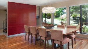 red dining accent wall
