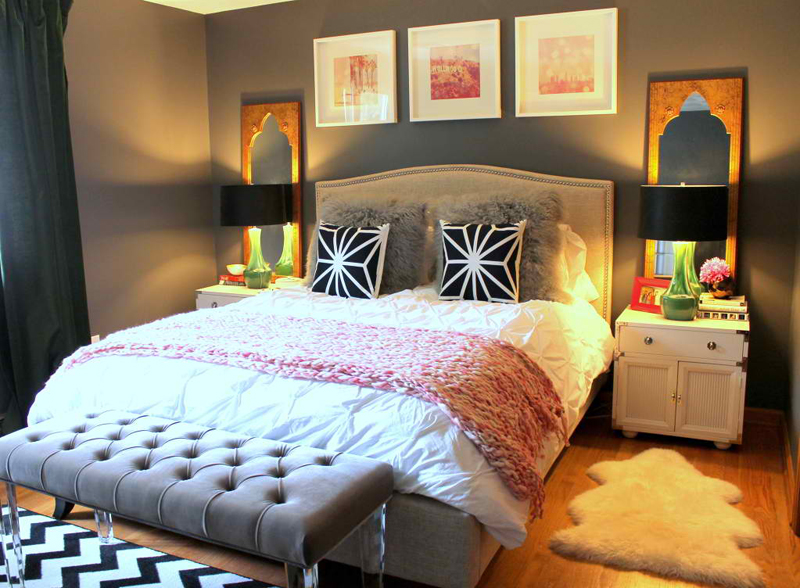 Animal fur pillows in 20 contemporary bedrooms home for Bachelorette bedroom ideas