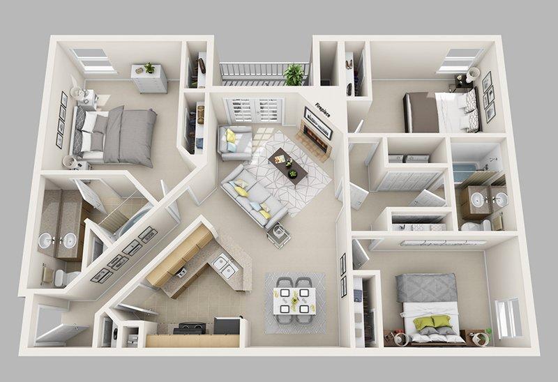 Three Bedroom: 3 Bedroom/2 Bath- 1320 sq. ft.