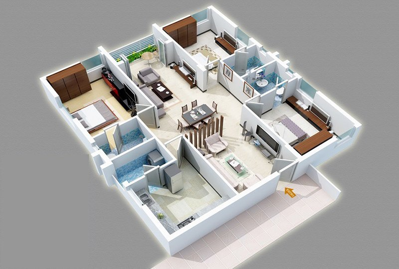 Three Bedroom, Three Bathroom