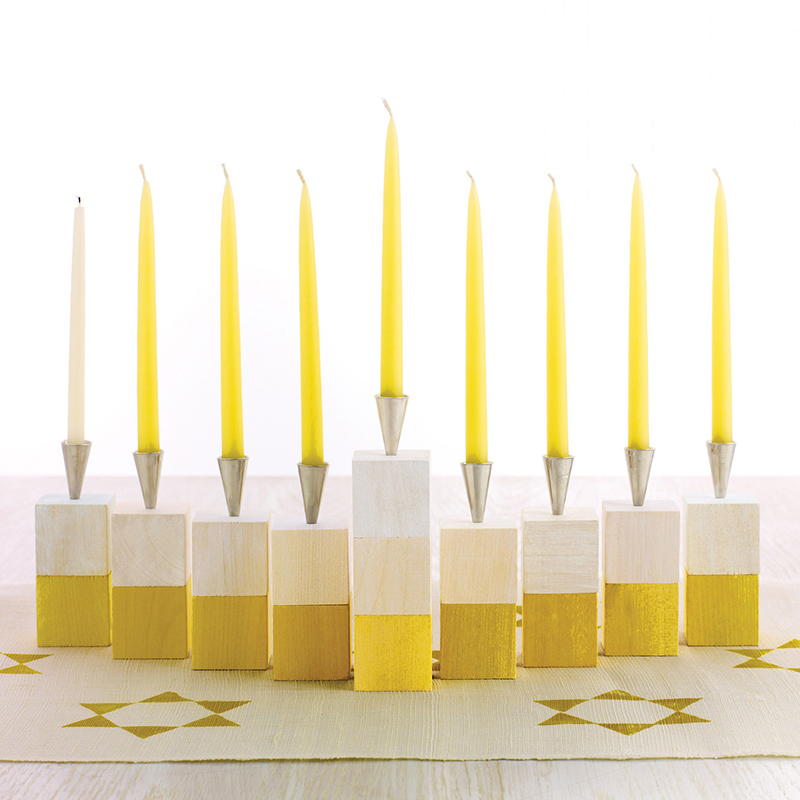Modern Wooden-Block Menorah