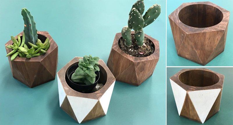 Wooden Hexagon Planter
