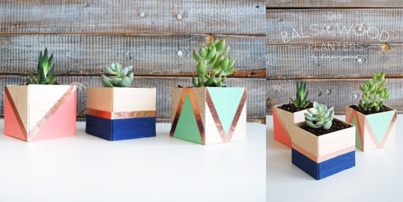 DIY Balsa Wood Planters