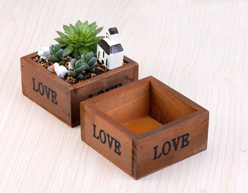 Wood Flowerpot Simulation Succulent Pots
