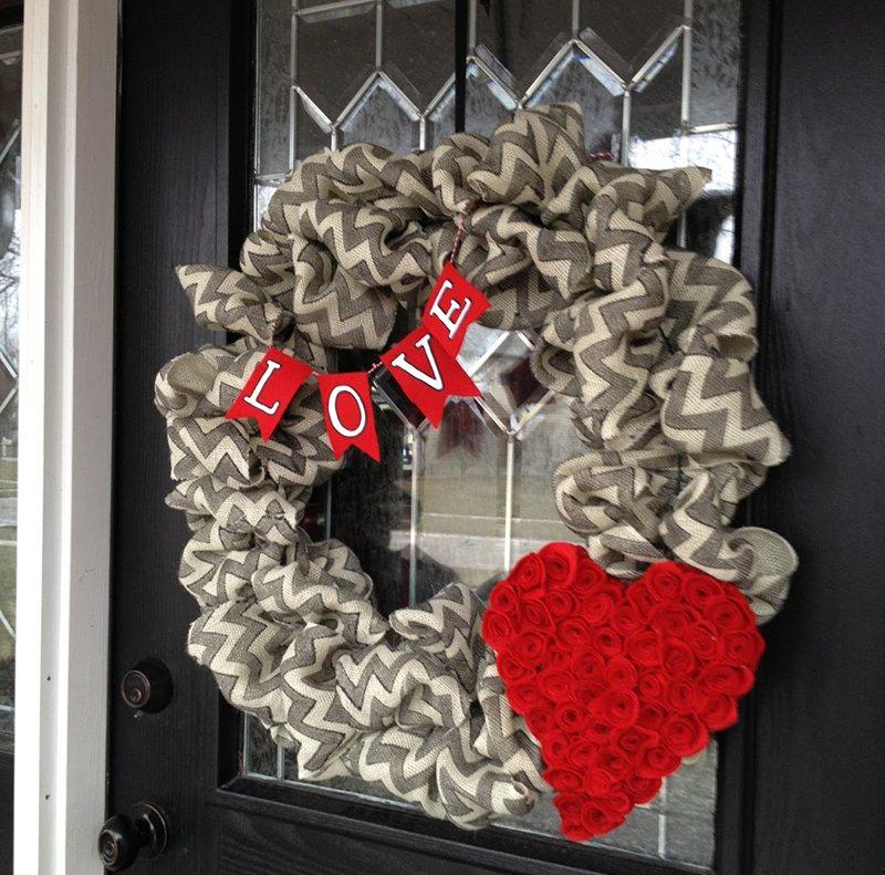 Chevron Burlap Valentine's Day Wreath