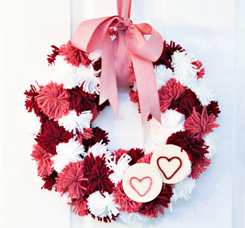 Valentine's Day Pom-Pom Yarn Wreath